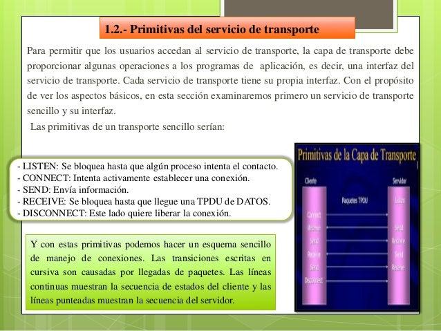 1.3.- Sockets de BerkeleyEste es otro grupo de primitivas de transporte, las primitivas usadas en UNIXpara el TCP. En gene...