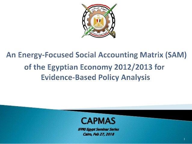CAPMAS IFPRI Egypt Seminar Series Cairo, Feb 27, 2018 1