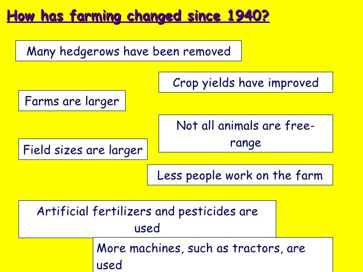 Many hedgerows have been removed How has farming changed since 1940? Farms are larger Field sizes are larger Less people w...