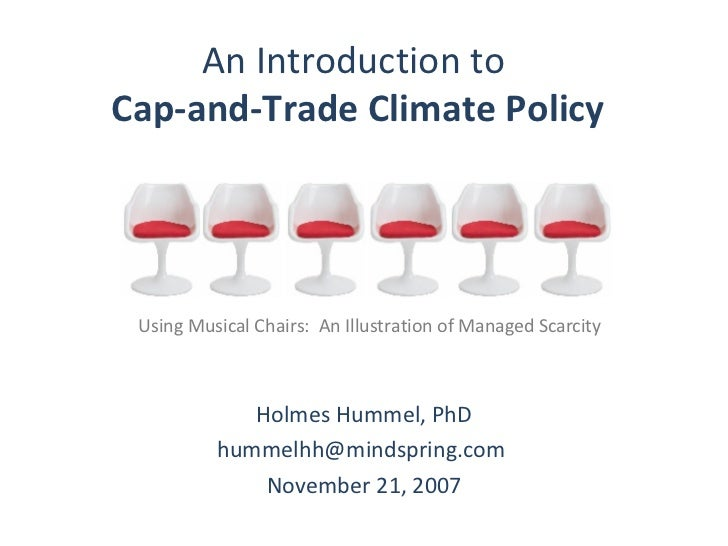 An Introduction to  Cap-and-Trade Climate Policy   Holmes Hummel, PhD hummelhh@mindspring.com  November 21, 2007 Using Mus...