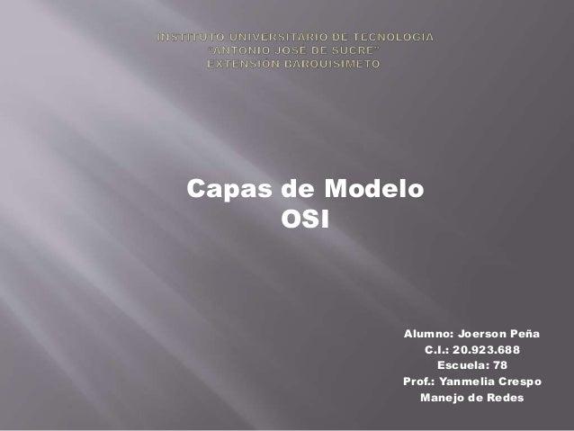 Capas de Modelo OSI  Alumno: Joerson Peña C.I.: 20.923.688 Escuela: 78 Prof.: Yanmelia Crespo Manejo de Redes