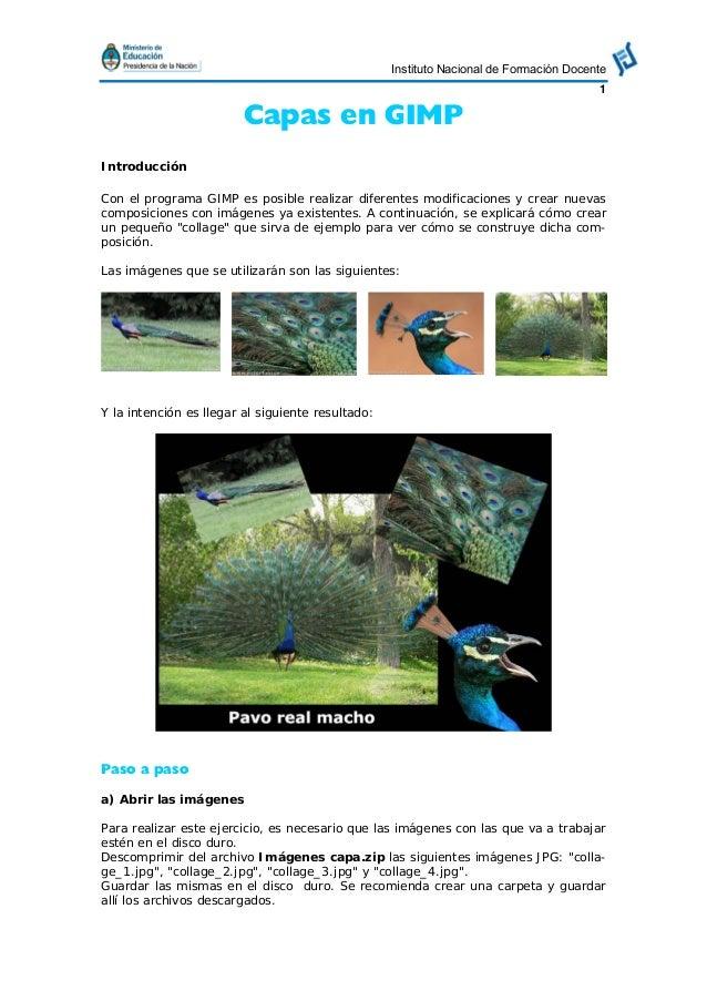 Instituto Nacional de Formación Docente1Capas en GIMPIntroducciónCon el programa GIMP es posible realizar diferentes modif...