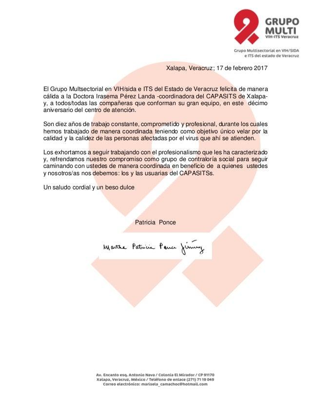 Xalapa, Veracruz; 17 de febrero 2017 El Grupo Multsectorial en VIH/sida e ITS del Estado de Veracruz felicita de manera cá...