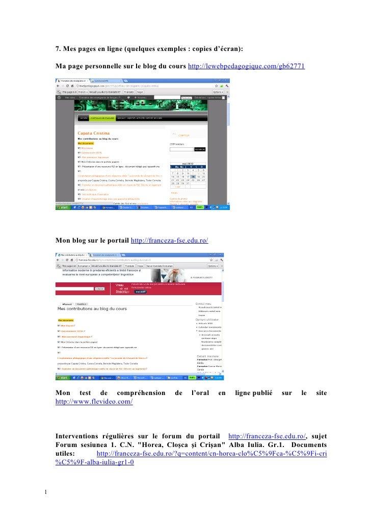 7. Mes pages en ligne (quelques exemples : copies d'écran):    Ma page personnelle sur le blog du cours http://lewebpedago...