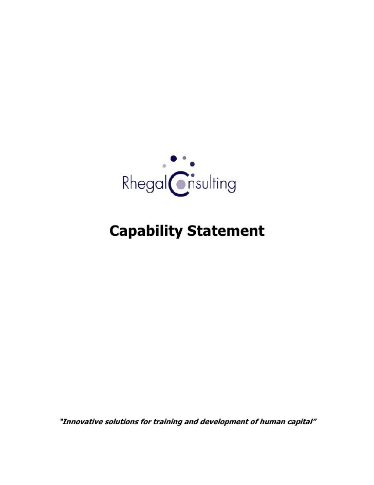 "Capability Statement     ""Innovative solutions for training and development of human capital"""