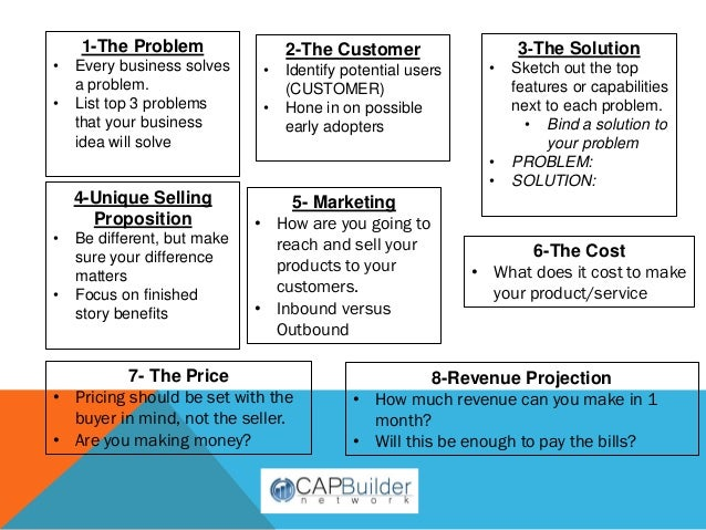 Capbuilder biz plan tool handout for Share builders plan
