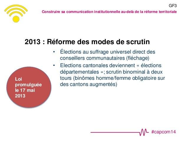 #capcom14 2013 : Réforme des modes de scrutin • Élections au suffrage universel direct des conseillers communautaires (flé...