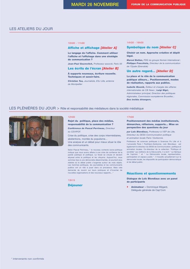 MARDI 26 NOVEMBRE                                                  FORUM DE LA COMMUNICATION PUBLIQUE     LES ATELIERS DU ...
