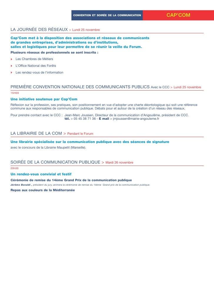 CONVENTION ET SOIRÉE DE LA COMMUNICATION                           CAP'COM  LA JOURNÉE DES RÉSEAUX                        ...