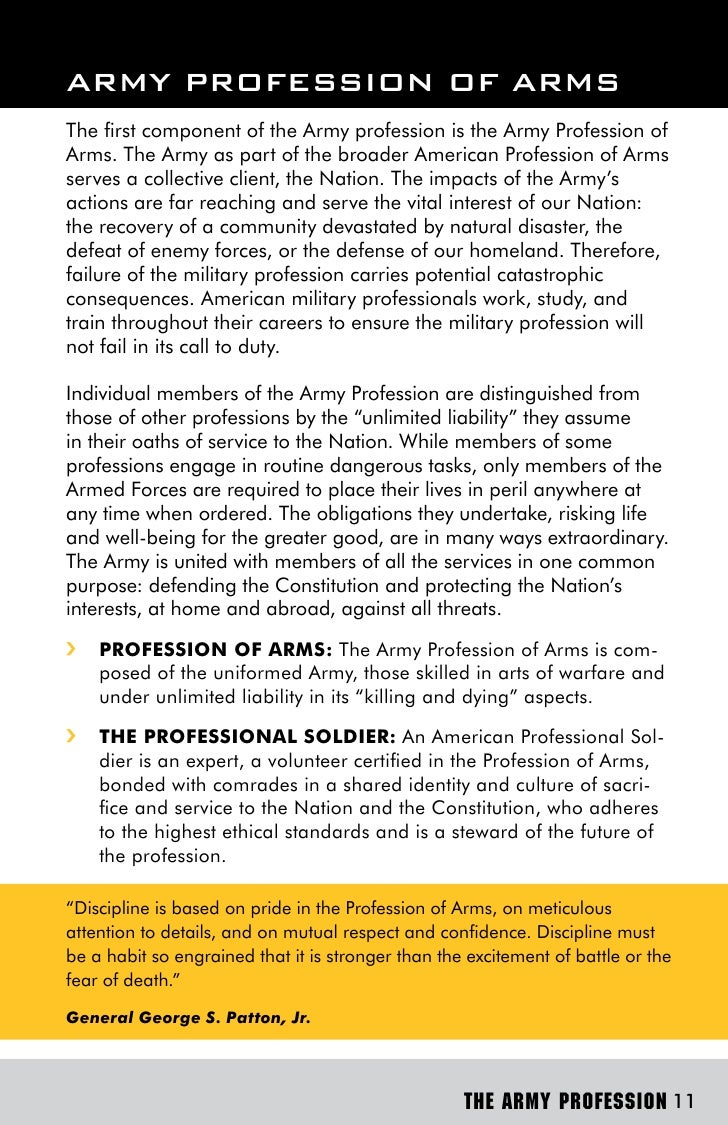 profession of arms information paper Adrp 1, the army profession, augments adp 1, the army it identifies two mutually supportive communities of practice: the profession of arms (soldiers.