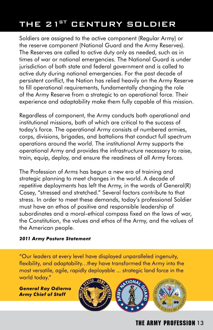 army profession of arms essay Department of the army the essay projects will enable nco's to develop to assist future leaders in forming mature judgments about the profession of arms.