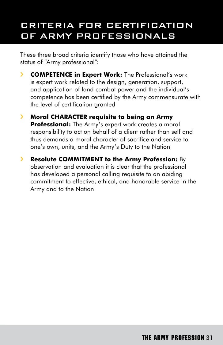 the army as a profession of Free essay: the profession of arms summary cpt monica rivera 07 june 2013  the army white paper addresses issues which centralized on.