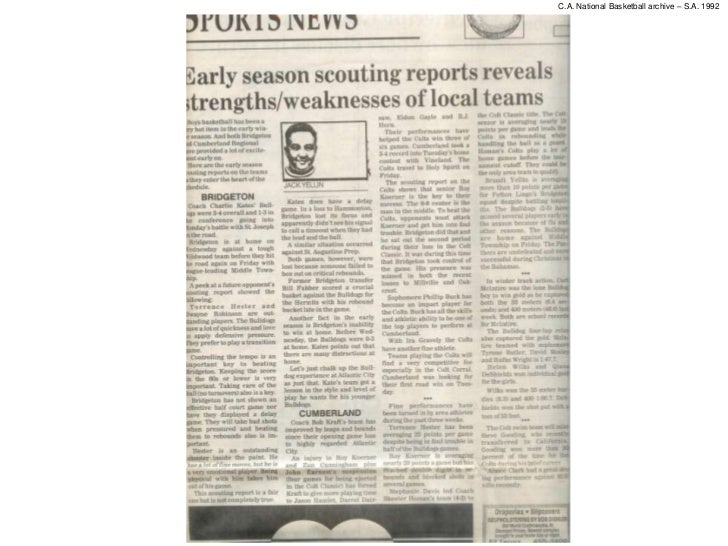 C.A. National Basketball archive – S.A. 1992         Early season scouting report reveals strengths/weaknesses of local te...