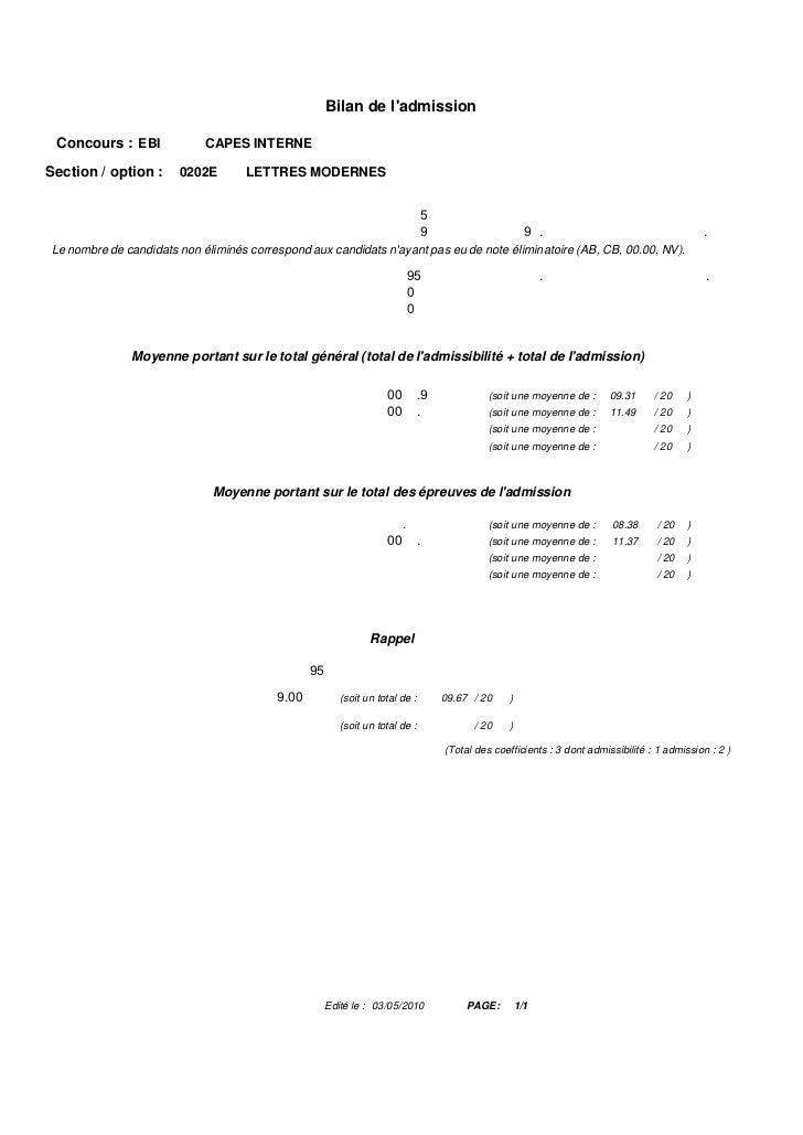 ADMISSION                                             Répartition par académies après barre Concours EBI     CAPES INTERNE...