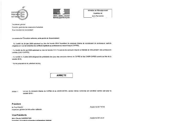 Présentation du rapport et des résultats        La session 2010 du CAPES interne de Lettres modernes et du CAER correspond...