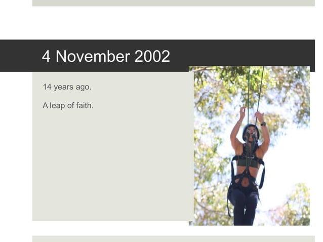 4 November 2002 14 years ago. A leap of faith.