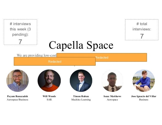 Capella Space We are providing low-cost SAR imagery satellite constellation with a low revisit rate. The Navy 7th Fleet wi...