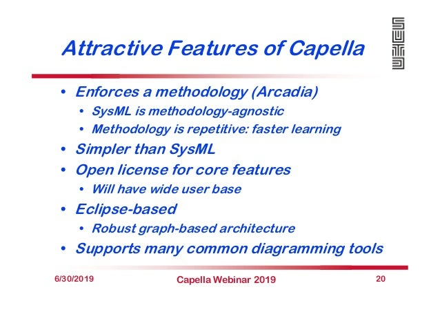 Attractive Features of Capella • Enforces a methodology (Arcadia) • SysML is methodology-agnostic • Methodology is repetit...