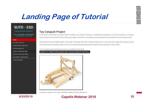 Landing Page of Tutorial 6/30/2019 Capella Webinar 2019 25