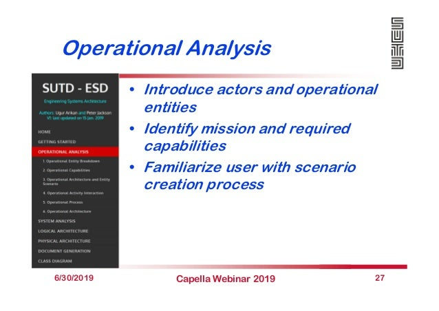 Operational Analysis • Introduce actors and operational entities • Identify mission and required capabilities • Familiariz...