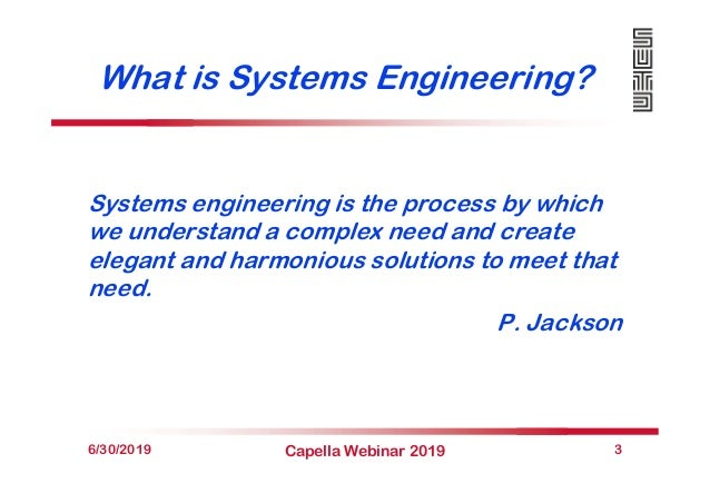 What is Systems Engineering? Systems engineering is the process by which we understand a complex need and create elegant a...
