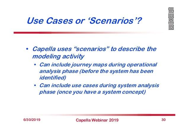"Use Cases or 'Scenarios'? • Capella uses ""scenarios"" to describe the modeling activity • Can include journey maps during o..."