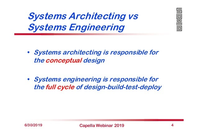 Systems Architecting vs Systems Engineering • Systems architecting is responsible for the conceptual design • Systems engi...