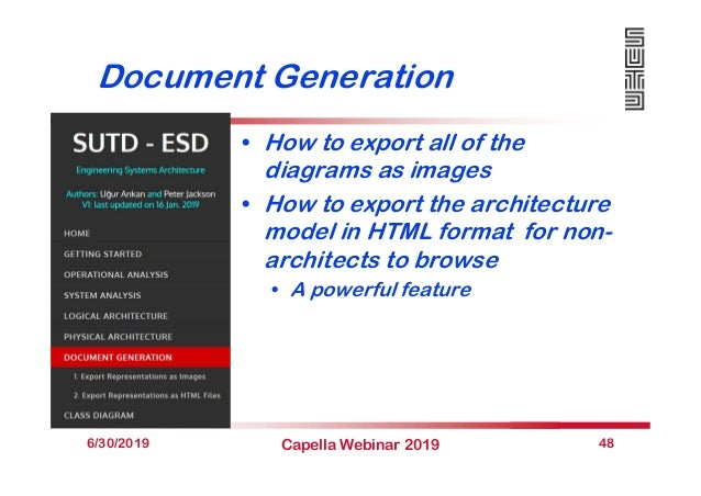 Document Generation • How to export all of the diagrams as images • How to export the architecture model in HTML format fo...