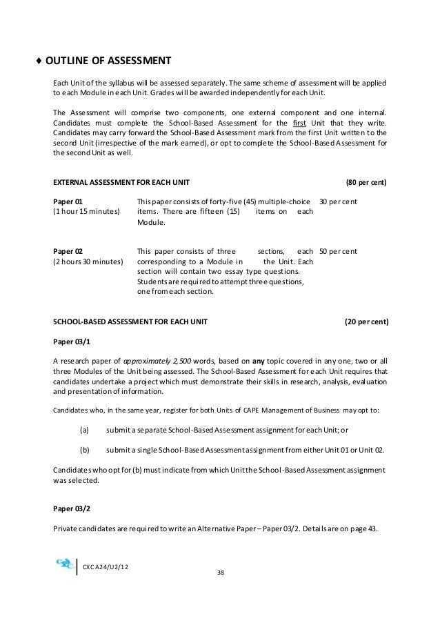 mob cape management of business unit two internal assessment System where subjects are organised in 1-unit or 2-unit courses with each unit   the cape management of business syllabus provides not only a good.