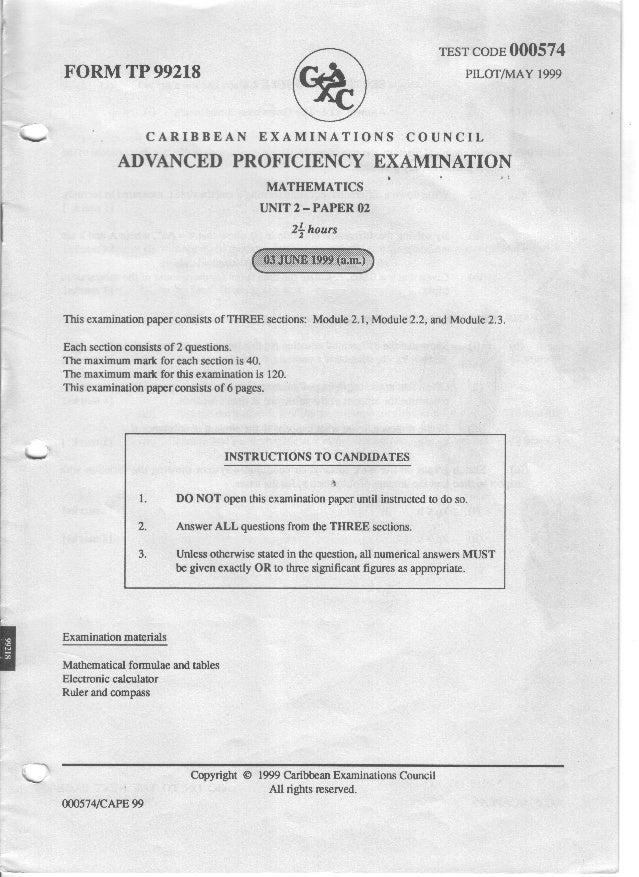 Cape pure math 1999 unit 2 paper 2