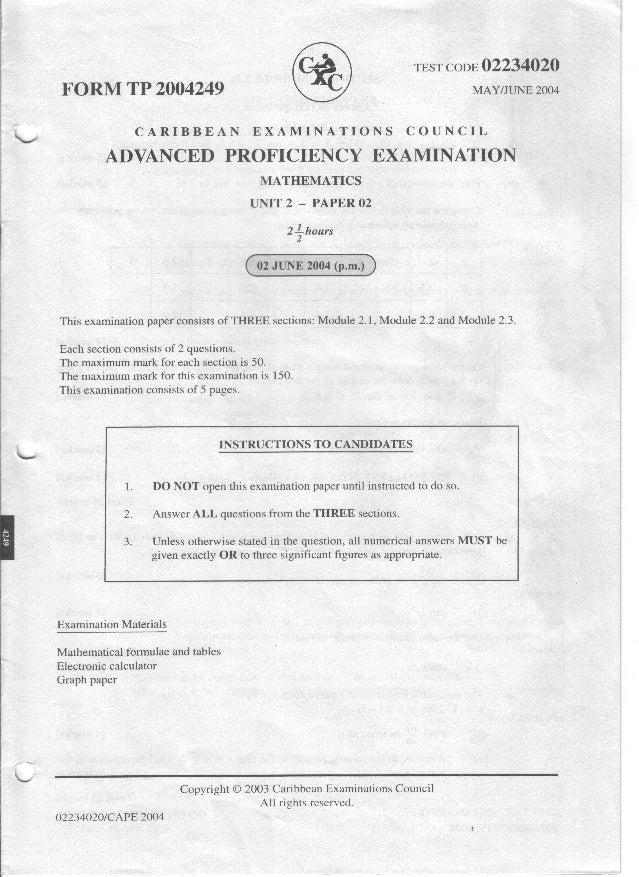 Cape pure math unit 1 2007
