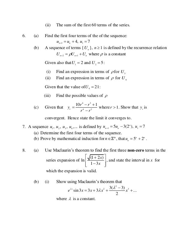 CAPE PURE MATHEMATICS UNIT 2 MODULE 2 PRACTICE QUESTIONS
