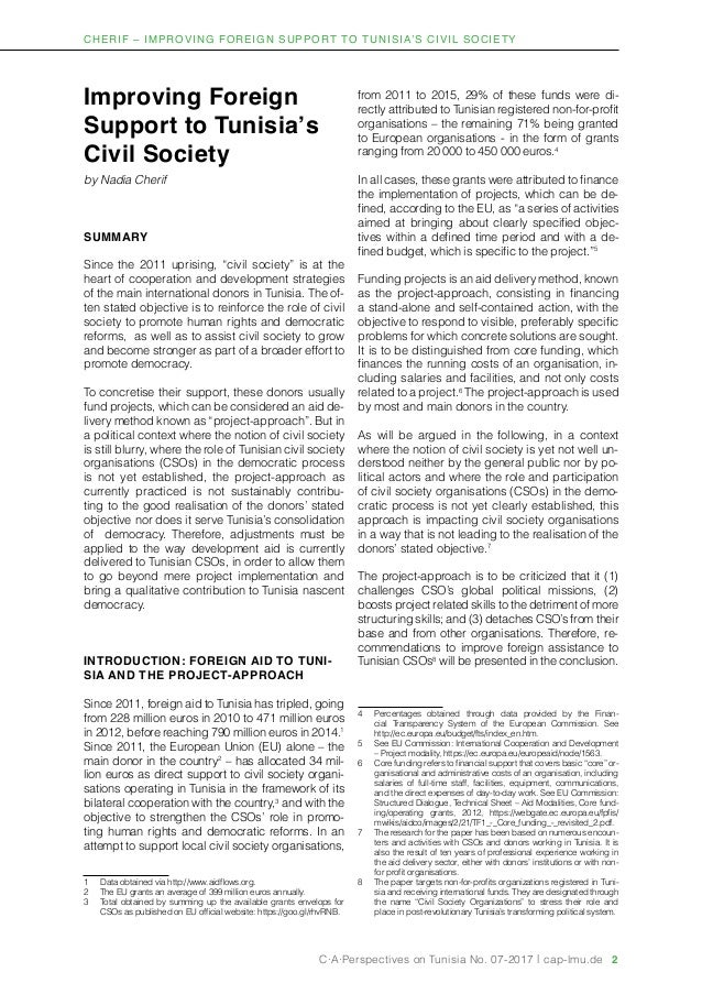 Improving Foreign Support to Tunisia's Civil Society Slide 2