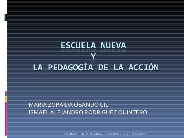 MARIA ZORAIDA OBANDO GIL ISMAEL ALEJANDRO RODRIGUEZ QUINTERO 26/02/2011 DIPLOMADO EN PEDAGOGIA EDUCATIVA  U.P.B.