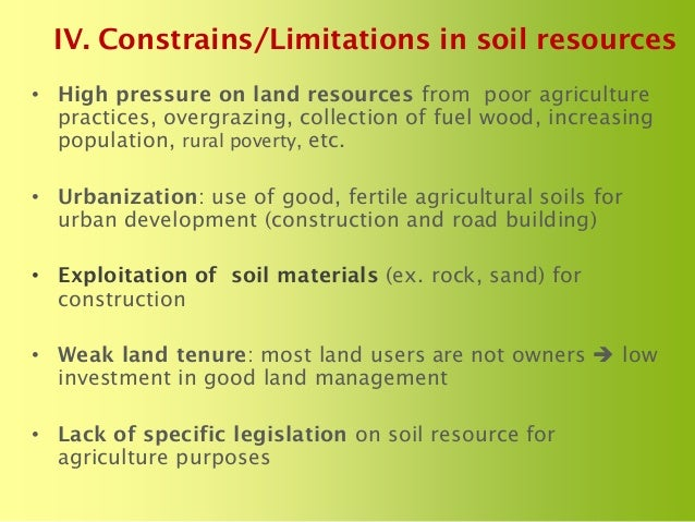 The status of soils resources needs and priorities for for About soil resources