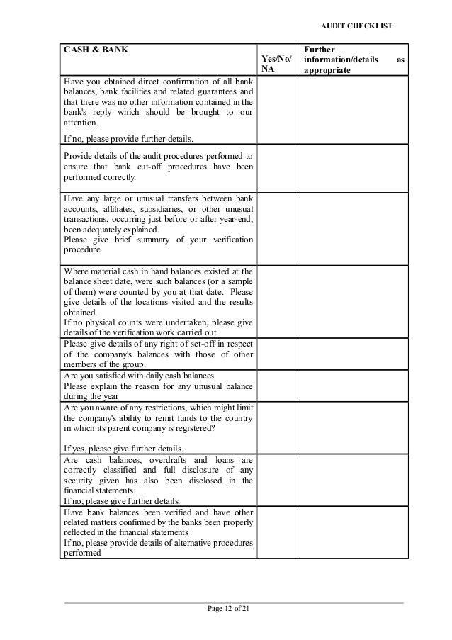 Capex audit checklist audit checklist cash bank yelopaper Choice Image