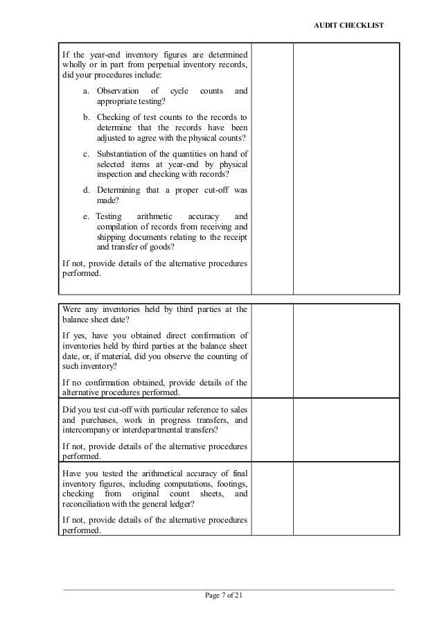 Capex audit checklist
