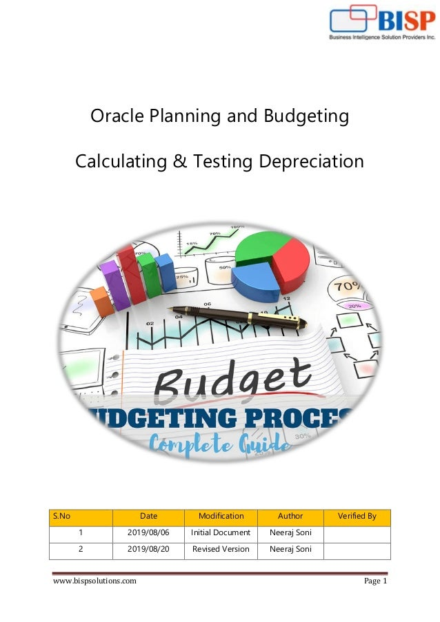 www.bispsolutions.com Page 1 Oracle Planning and Budgeting Calculating & Testing Depreciation S.No Date Modification Autho...