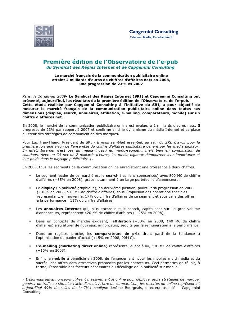 Telecom, Media, Entertainment                 Première édition de l'Observatoire de l'e-pub               du Syndicat des ...