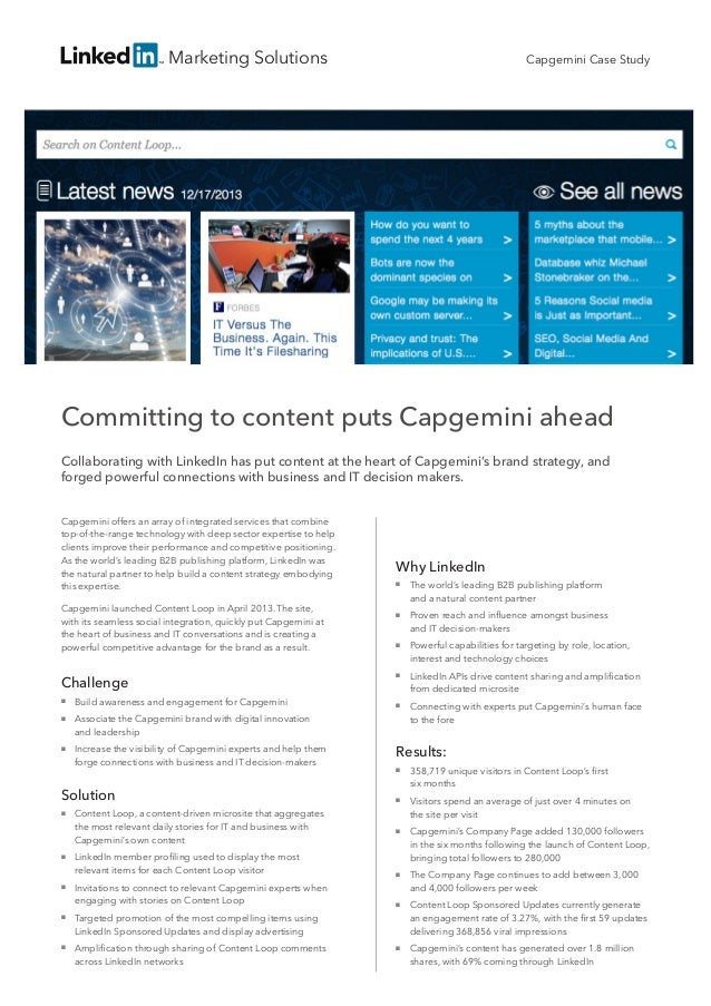 Marketing Solutions  Capgemini Case Study  Committing to content puts Capgemini ahead Collaborating with LinkedIn has put ...