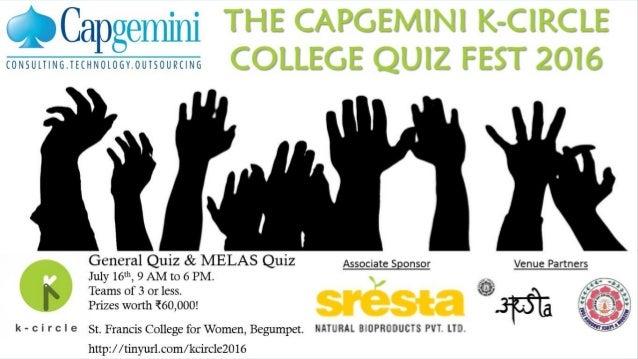 The Capgemini K-Circle College Quiz Fest 2016 The General Quiz Finals