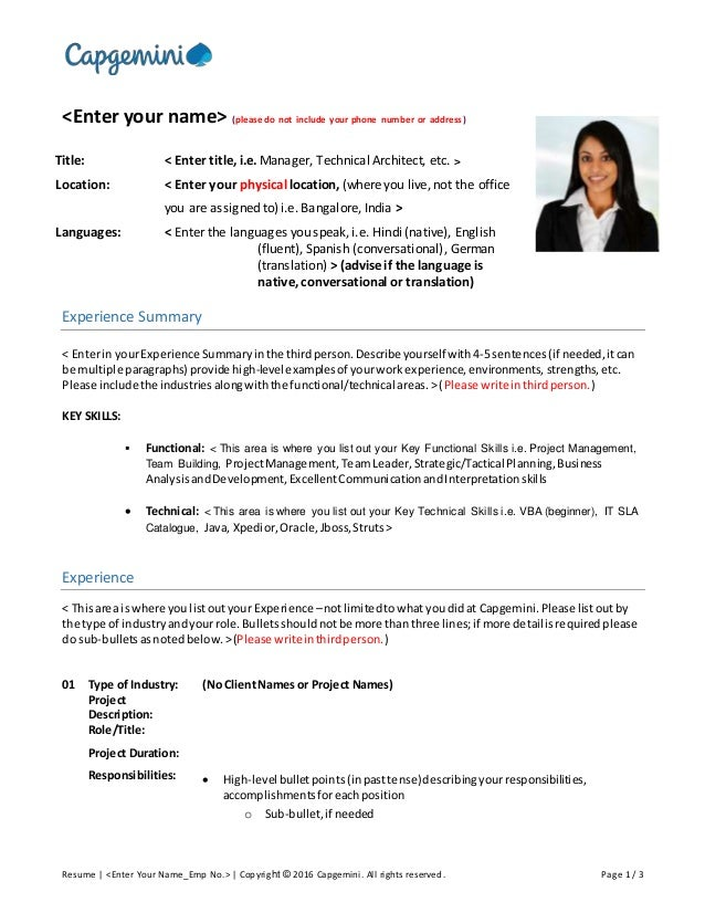 Capgemini Resume Template