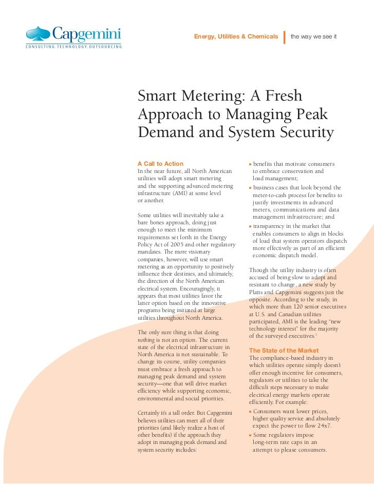 Energy, Utilities & Chemicals         the way we see itSmart Metering: A FreshApproach to Managing PeakDemand and System S...