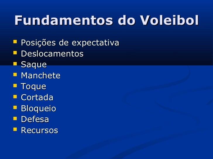 Fundamentos do Voleibol   Posições de expectativa   Deslocamentos   Saque   Manchete   Toque   Cortada   Bloqueio ...