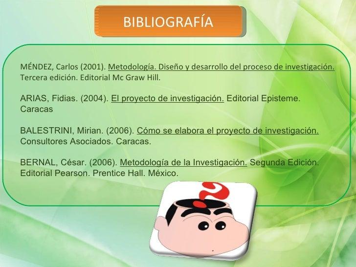 BIBLIOGRAFÍA MÉNDEZ, Carlos (2001).  Metodología. Diseño y desarrollo del proceso de investigación.  Tercera edición. Edit...