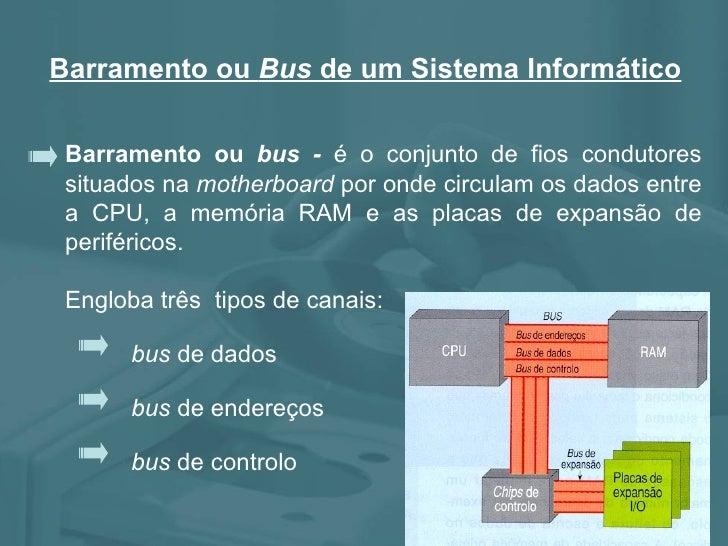 Barramento ou  bus -  é o conjunto de fios condutores situados na  motherboard  por onde circulam os dados entre a CPU, a ...