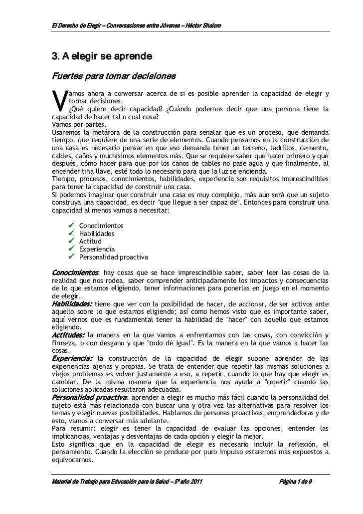 El DerechodeElegir – ConversacionesentreJóvenes – HéctorShalom3.A elegirseaprendeFuertesparatomardecisionesV...
