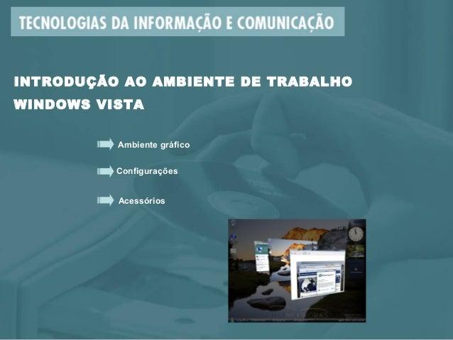 Ambiente gráfico Configurações Acessórios INTRODUÇÃO AO AMBIENTE DE TRABALHO WINDOWS VISTA