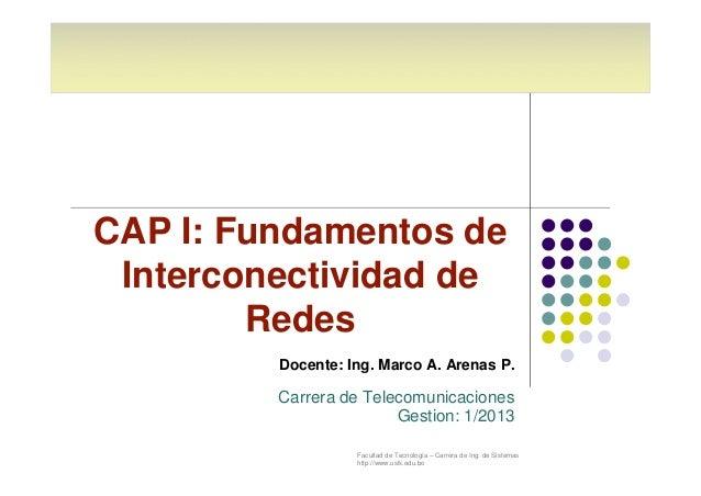 CAP I: Fundamentos de  Interconectividad de  Facultad de Tecnología – Carrera de Ing. de Sistemas  http://www.usfx.edu.bo ...
