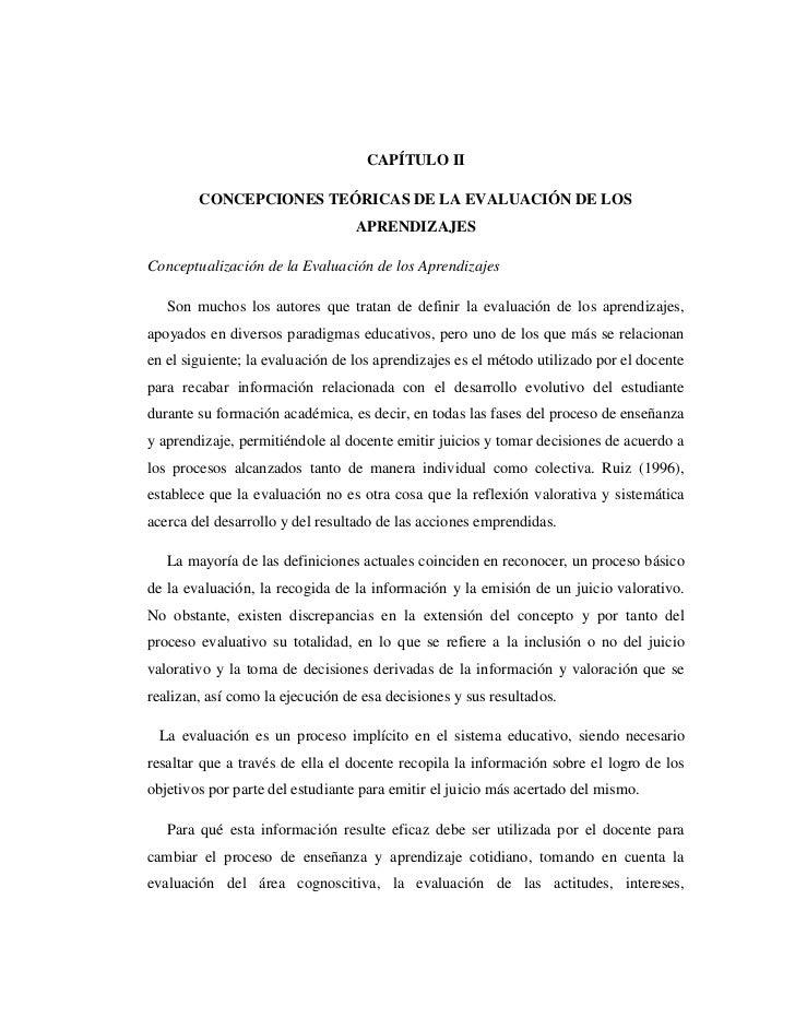 CAPÍTULO II        CONCEPCIONES TEÓRICAS DE LA EVALUACIÓN DE LOS                                  APRENDIZAJESConceptualiz...